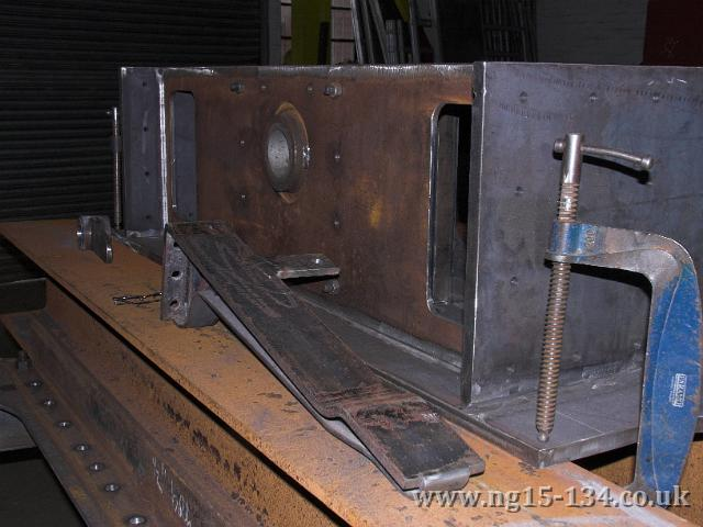 One of the fabricated cab floor support brackes in front on the rear dragbox at Brunswick Ironworks.. (Photo: L. Armstrong)