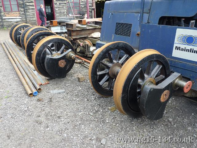 The wheel sets are seen outsite Boston Lodge on September 9th 2010 after tyre turning. (Photo: Richard Watson)