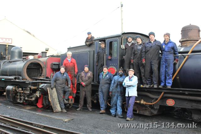 The NG15 volunteer team seen here on NGG16 №87, one of the service fleet locos that the team also worked on.